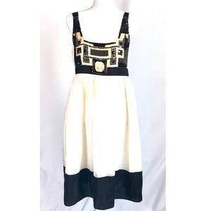 ZARA WOMAN Black and White Beaded Dress